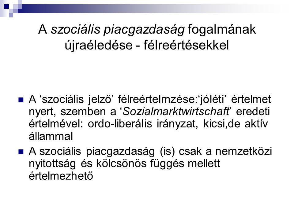 A magyar foglalkoztatási szerkezet és az állam teendői Az adórendszer és az adóadminisztráció elfogadja és ezzel tartósítja a formális (legális) és az informális gazdaság kettősségét; Az állami minimálbér-szabályozás és a foglalkoztatási- munkaügyi rend nem segíti a munkába állást, a munkaerőpiac 'kifehéredését' A szociális ellátás univerzális modelljei tartósítják a függőséget, nehezítik a munkaerőpiaci újraaktivizálódást A gyenge, hiányzó érdekvédelem helyett az állam vesz magára jóléti és érdekvédő funkciókat