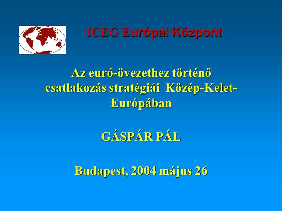 ICEG E urópai Központ Az euró-övezethez történő csatlakozás stratégiái Közép-Kelet- Európában GÁSPÁR PÁL Budapest, 2004 május 26