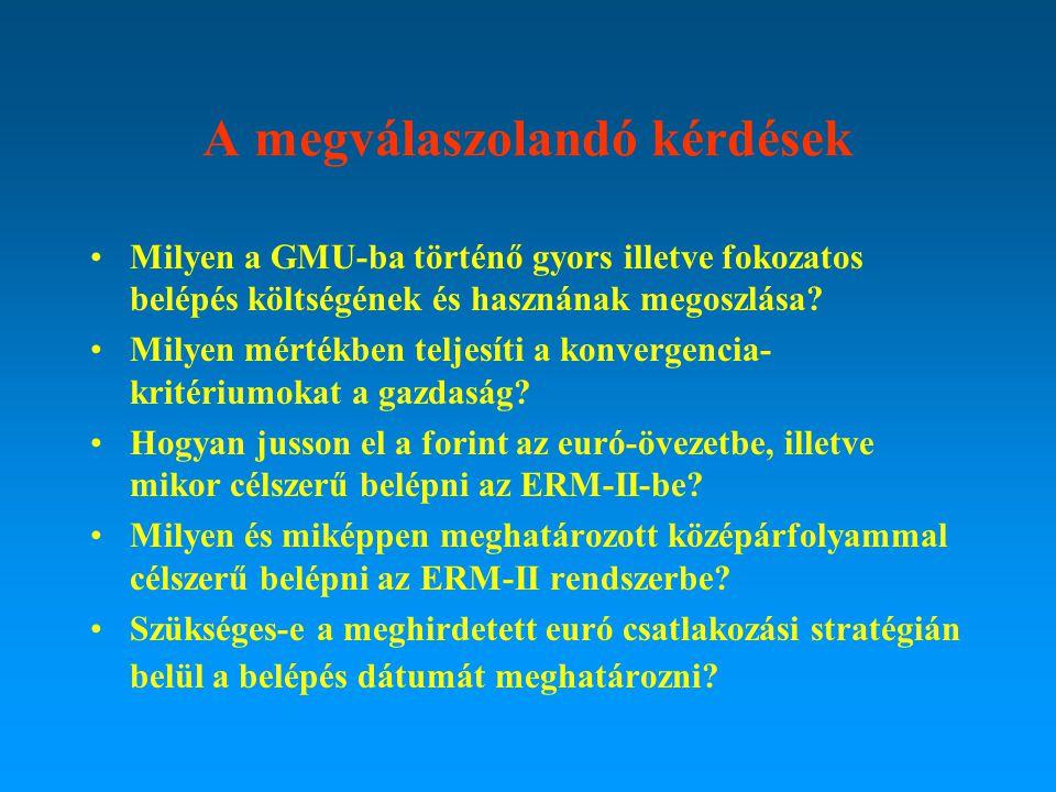 A megválaszolandó kérdések Milyen a GMU-ba történő gyors illetve fokozatos belépés költségének és hasznának megoszlása? Milyen mértékben teljesíti a k