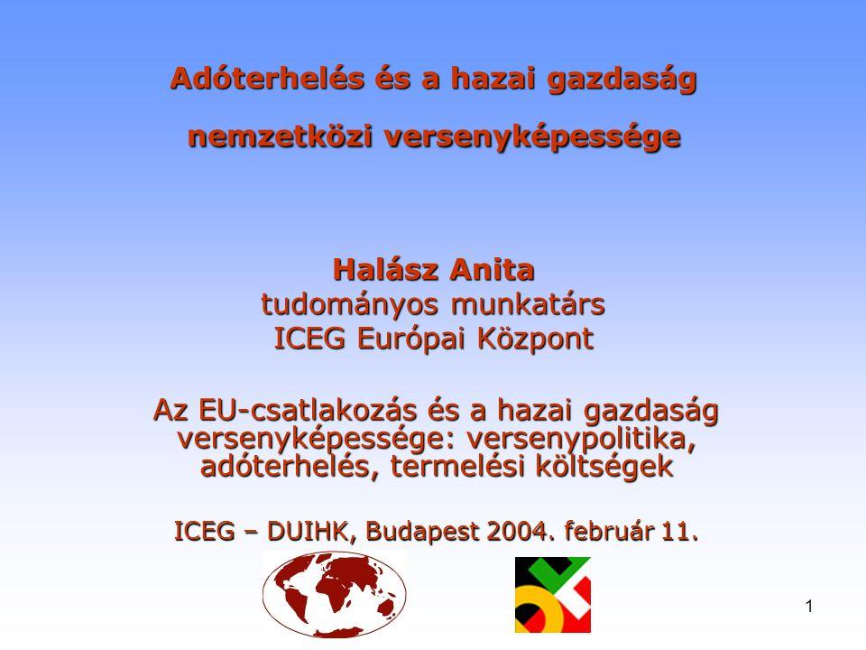 1 Adóterhelés és a hazai gazdaság nemzetközi versenyképessége Halász Anita tudományos munkatárs ICEG Európai Központ Az EU-csatlakozás és a hazai gazd