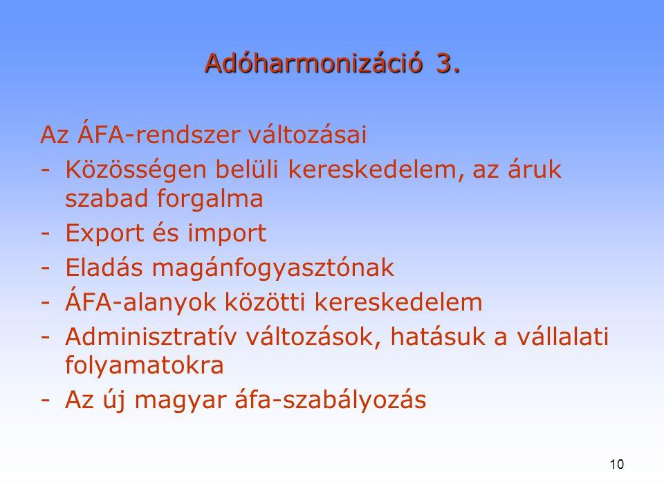 10 Adóharmonizáció 3. Az ÁFA-rendszer változásai -Közösségen belüli kereskedelem, az áruk szabad forgalma -Export és import -Eladás magánfogyasztónak
