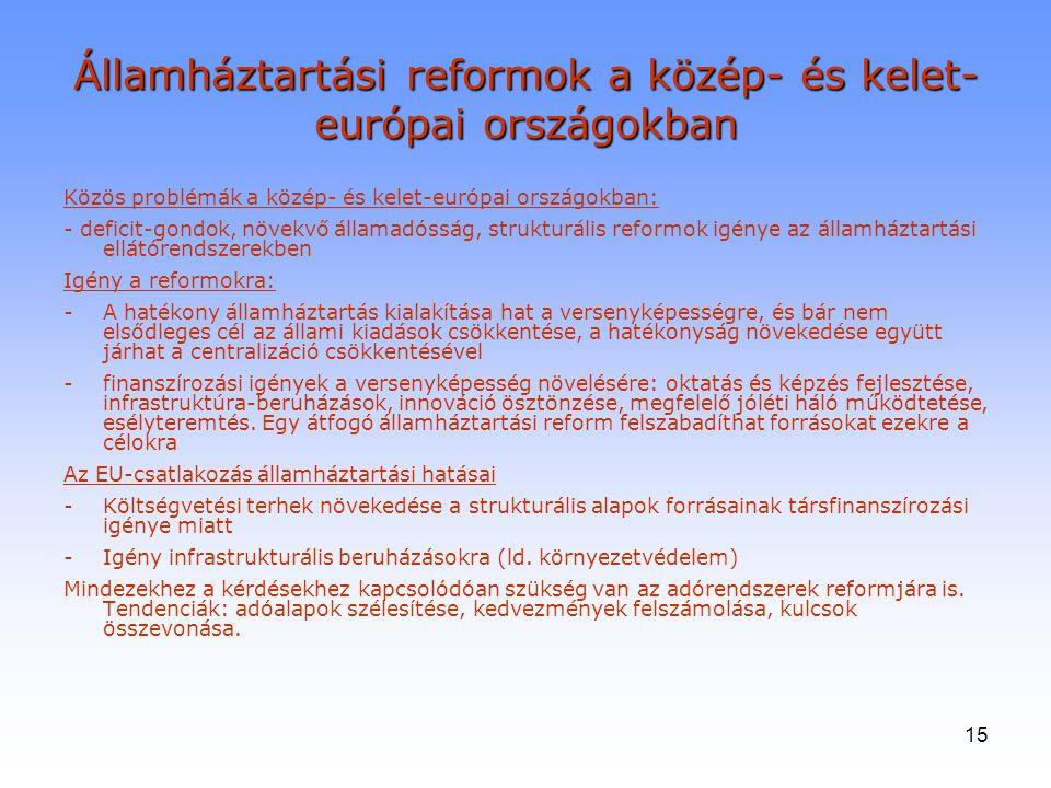 15 Államháztartási reformok a közép- és kelet- európai országokban Közös problémák a közép- és kelet-európai országokban: - deficit-gondok, növekvő ál