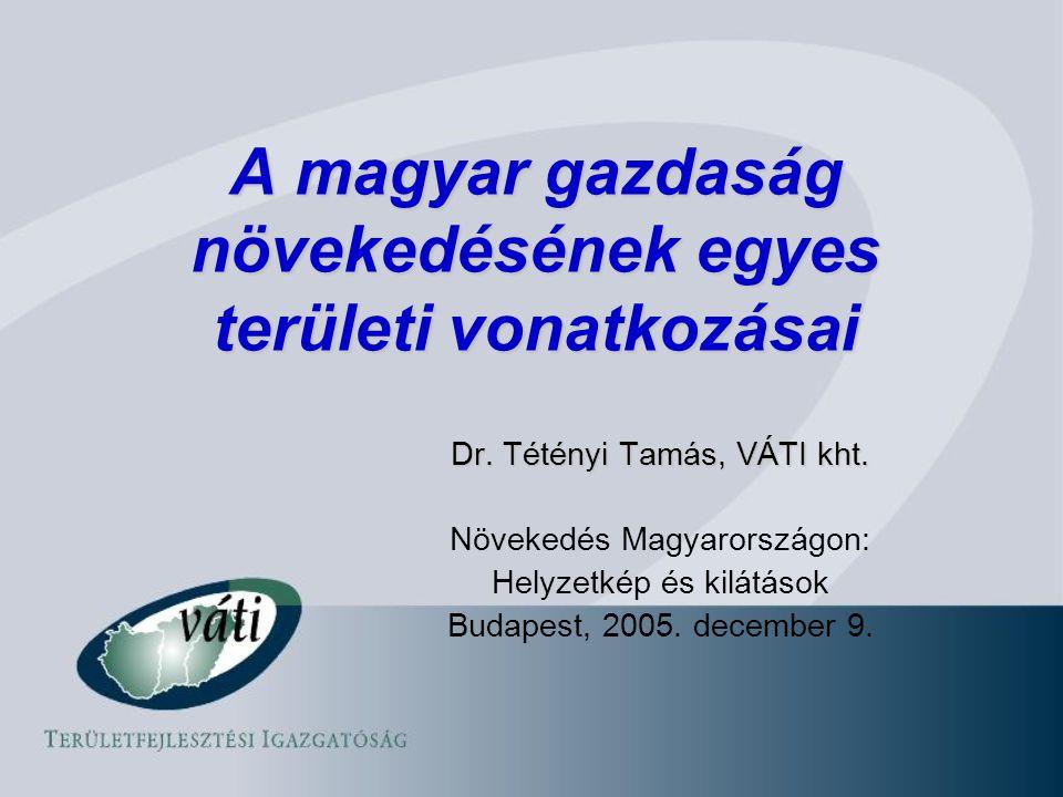 A magyar gazdaság növekedésének egyes területi vonatkozásai Dr.