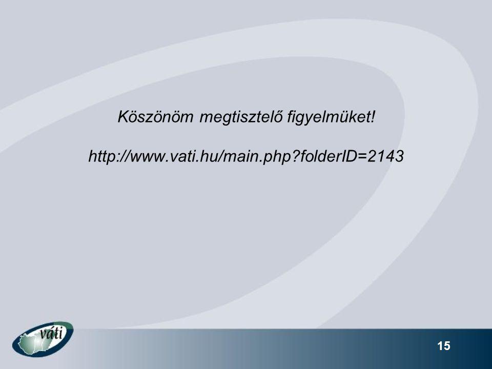 15 Köszönöm megtisztelő figyelmüket! http://www.vati.hu/main.php folderID=2143