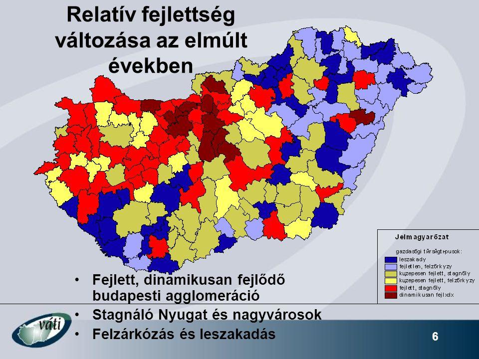 6 Relatív fejlettség változása az elmúlt években Fejlett, dinamikusan fejlődő budapesti agglomeráció Stagnáló Nyugat és nagyvárosok Felzárkózás és leszakadás