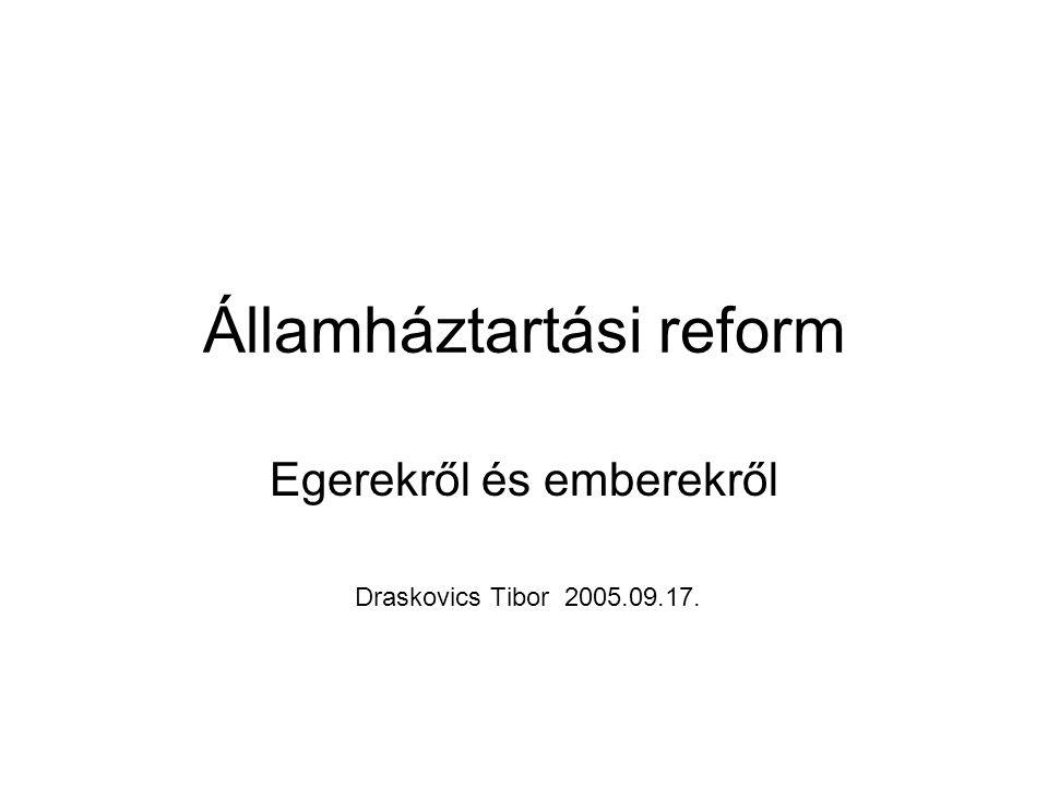 Államháztartási reform Egerekről és emberekről Draskovics Tibor 2005.09.17.