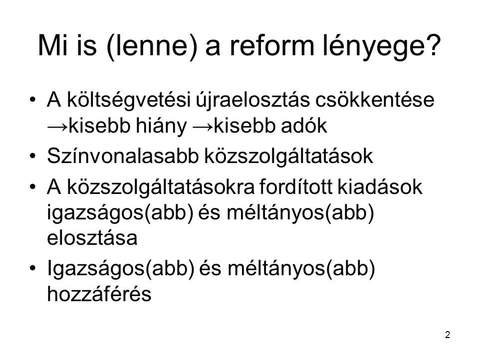 2 Mi is (lenne) a reform lényege.
