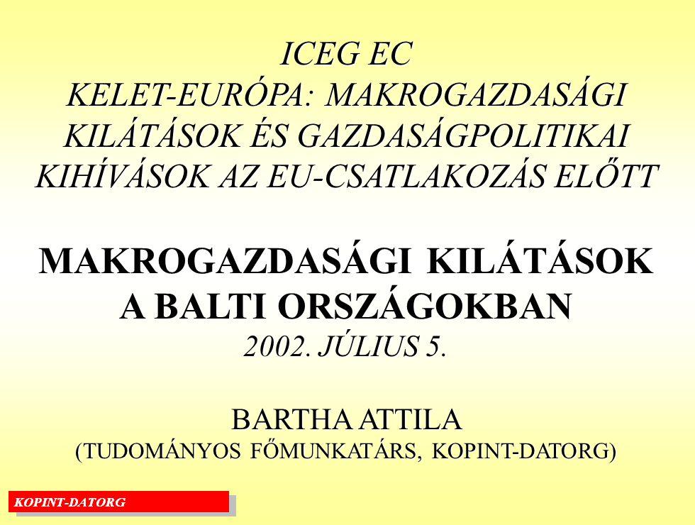 ICEG EC KELET-EURÓPA: MAKROGAZDASÁGI KILÁTÁSOK ÉS GAZDASÁGPOLITIKAI KIHÍVÁSOK AZ EU-CSATLAKOZÁS ELŐTT MAKROGAZDASÁGI KILÁTÁSOK A BALTI ORSZÁGOKBAN 2002.