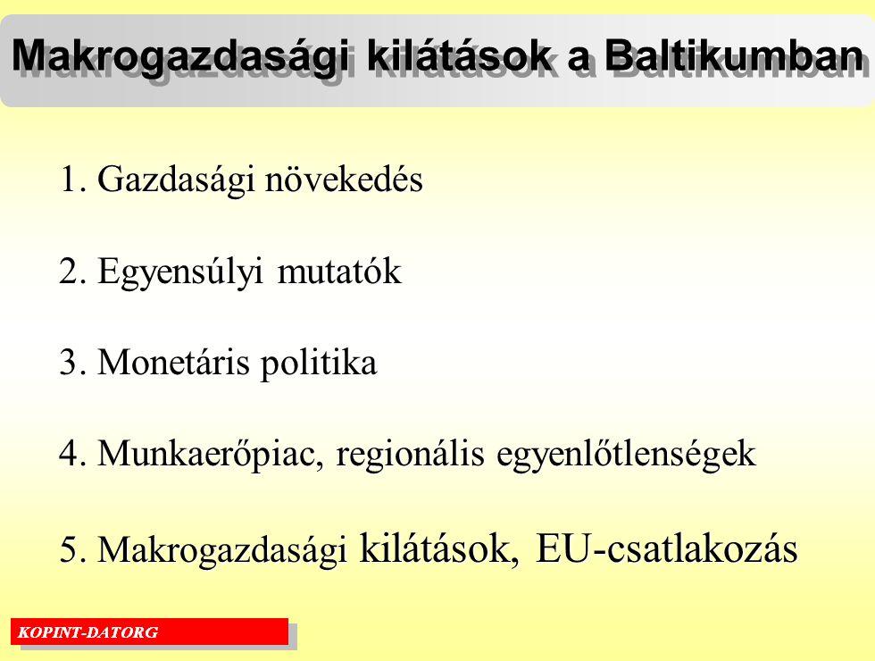 Makrogazdasági kilátások a Baltikumban 1. Gazdasági növekedés 2.