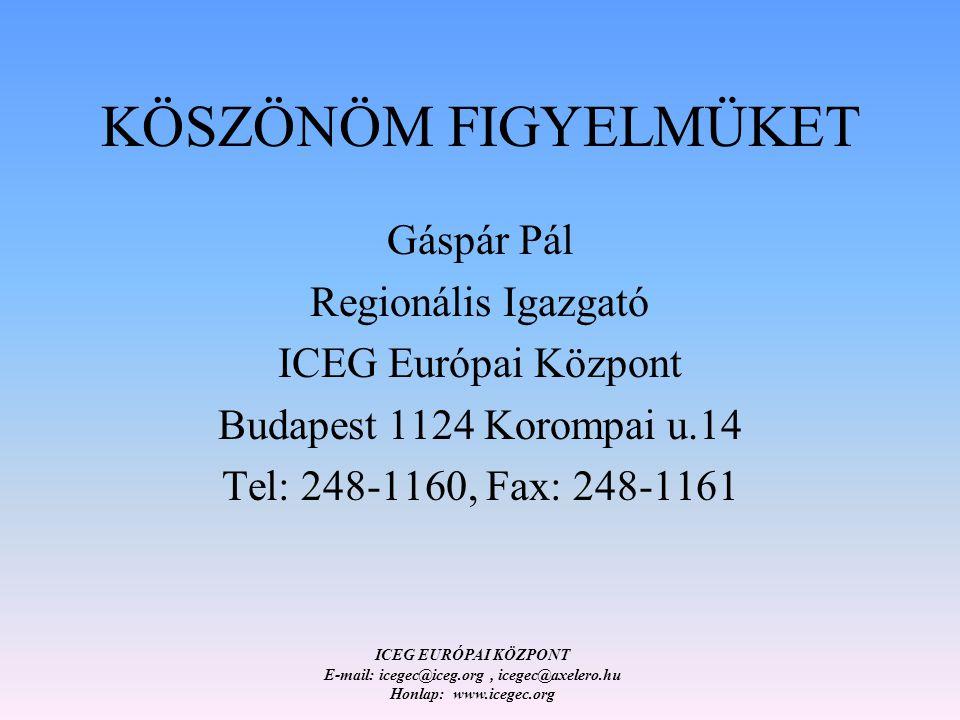 ICEG EURÓPAI KÖZPONT E-mail: icegec@iceg.org, icegec@axelero.hu Honlap: www.icegec.org KÖSZÖNÖM FIGYELMÜKET Gáspár Pál Regionális Igazgató ICEG Európai Központ Budapest 1124 Korompai u.14 Tel: 248-1160, Fax: 248-1161