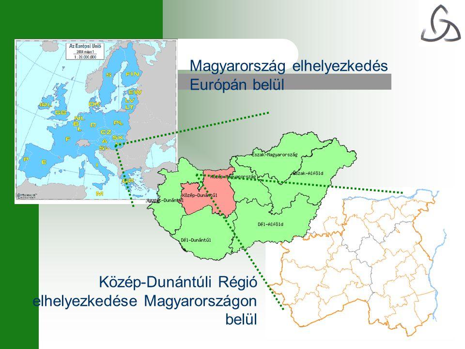 Magyarország elhelyezkedés Európán belül Közép-Dunántúli Régió elhelyezkedése Magyarországon belül