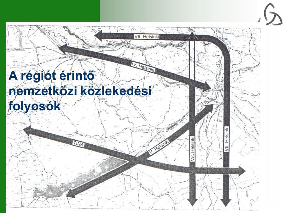 A régiót érintő nemzetközi közlekedési folyosók