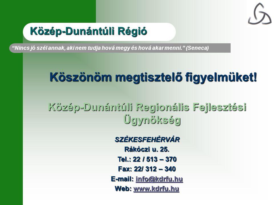 Köszönöm megtisztelő figyelmüket! Közép-Dunántúli Regionális Fejlesztési Ügynökség SZÉKESFEHÉRVÁR Rákóczi u. 25. Tel.: 22 / 513 – 370 Fax: 22/ 312 – 3