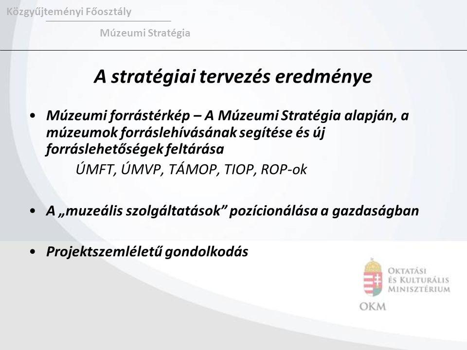 """A stratégiai tervezés eredménye Múzeumi forrástérkép – A Múzeumi Stratégia alapján, a múzeumok forráslehívásának segítése és új forráslehetőségek feltárása ÚMFT, ÚMVP, TÁMOP, TIOP, ROP-ok A """"muzeális szolgáltatások pozícionálása a gazdaságban Projektszemléletű gondolkodás Közgyűjteményi Főosztály Múzeumi Stratégia"""