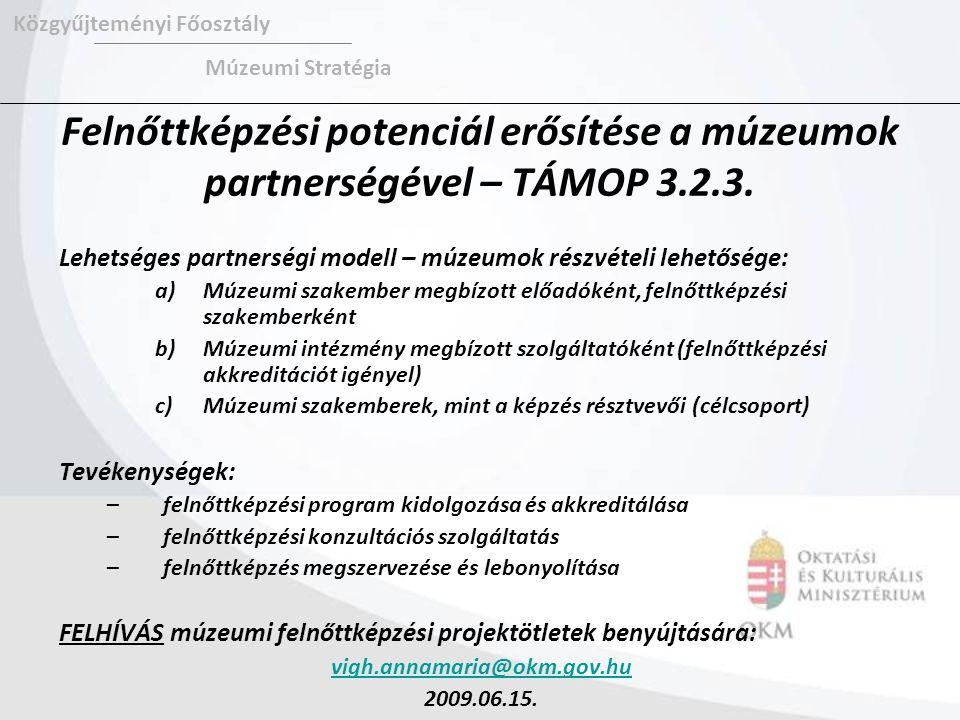 Felnőttképzési potenciál erősítése a múzeumok partnerségével – TÁMOP 3.2.3. Lehetséges partnerségi modell – múzeumok részvételi lehetősége: a)Múzeumi