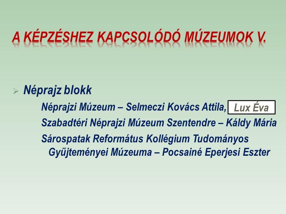  Néprajz blokk Néprajzi Múzeum – Selmeczi Kovács Attila, Szabadtéri Néprajzi Múzeum Szentendre – Káldy Mária Sárospatak Református Kollégium Tudomány