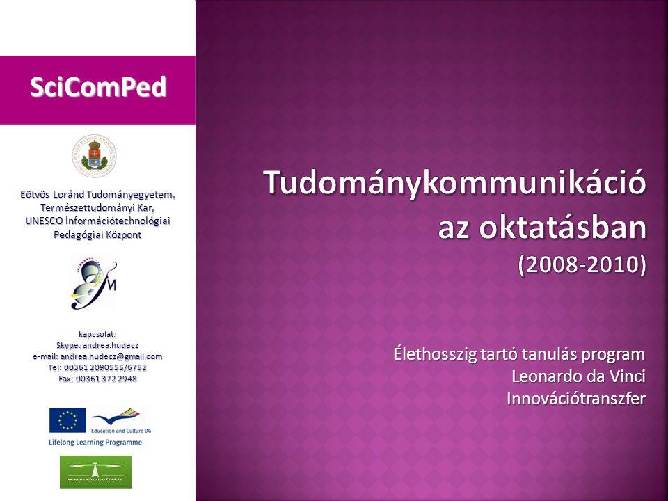 A tudománykommunikáció és a múzeumandragógia összekapcsolása Kárpáti Andrea – Vásárhelyi Tamás Széphalom, 2009.