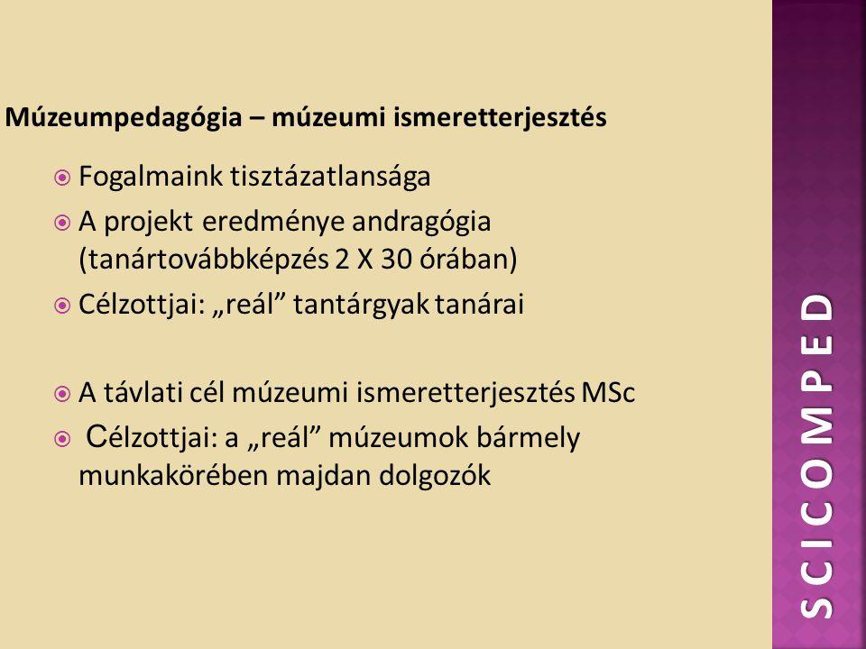 """ Fogalmaink tisztázatlansága  A projekt eredménye andragógia (tanártovábbképzés 2 X 30 órában)  Célzottjai: """"reál tantárgyak tanárai  A távlati cél múzeumi ismeretterjesztés MSc  C élzottjai: a """"reál múzeumok bármely munkakörében majdan dolgozók S C I C O M P E D"""