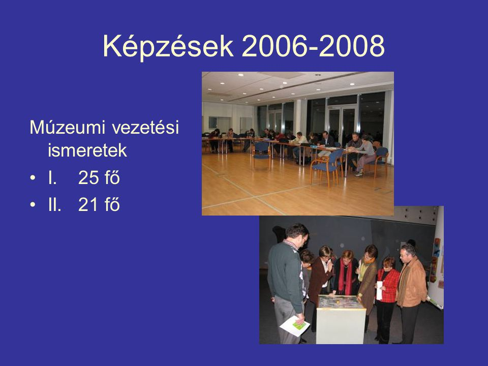 Képzések 2006-2008 Múzeumi vezetési ismeretek I.25 fő II. 21 fő