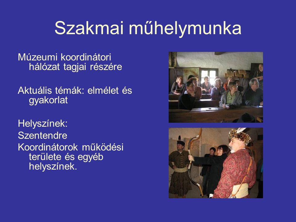 Szakmai műhelymunka Múzeumi koordinátori hálózat tagjai részére Aktuális témák: elmélet és gyakorlat Helyszínek: Szentendre Koordinátorok működési területe és egyéb helyszínek.