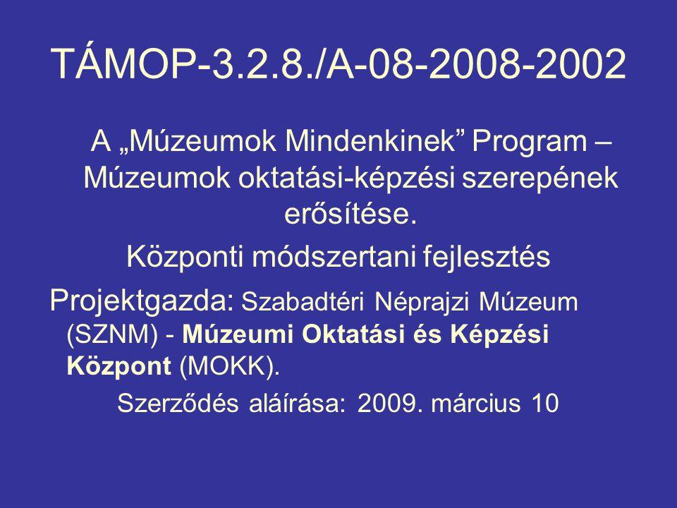 """TÁMOP-3.2.8./A-08-2008-2002 A """"Múzeumok Mindenkinek Program – Múzeumok oktatási-képzési szerepének erősítése."""