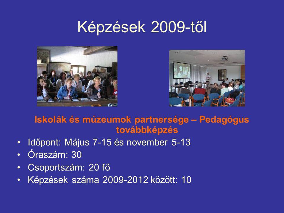 Képzések 2009-től Iskolák és múzeumok partnersége – Pedagógus továbbképzés Időpont: Május 7-15 és november 5-13 Óraszám: 30 Csoportszám: 20 fő Képzések száma 2009-2012 között: 10