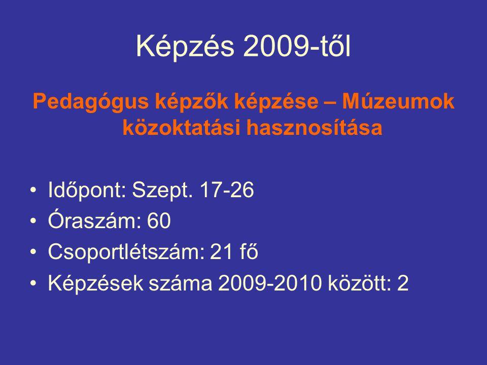 Képzés 2009-től Pedagógus képzők képzése – Múzeumok közoktatási hasznosítása Időpont: Szept.