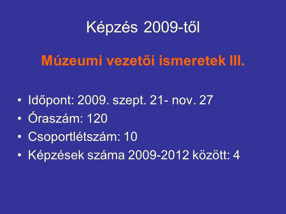Képzés 2009-től Múzeumi vezetői ismeretek III. Időpont: 2009.