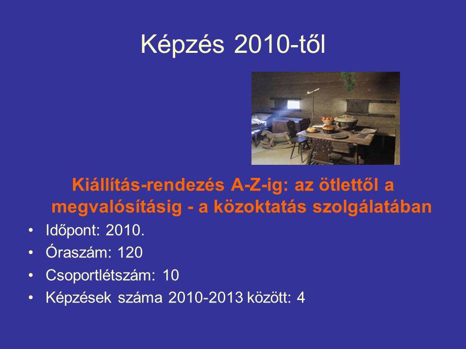 Képzés 2010-től Kiállítás-rendezés A-Z-ig: az ötlettől a megvalósításig - a közoktatás szolgálatában Időpont: 2010.