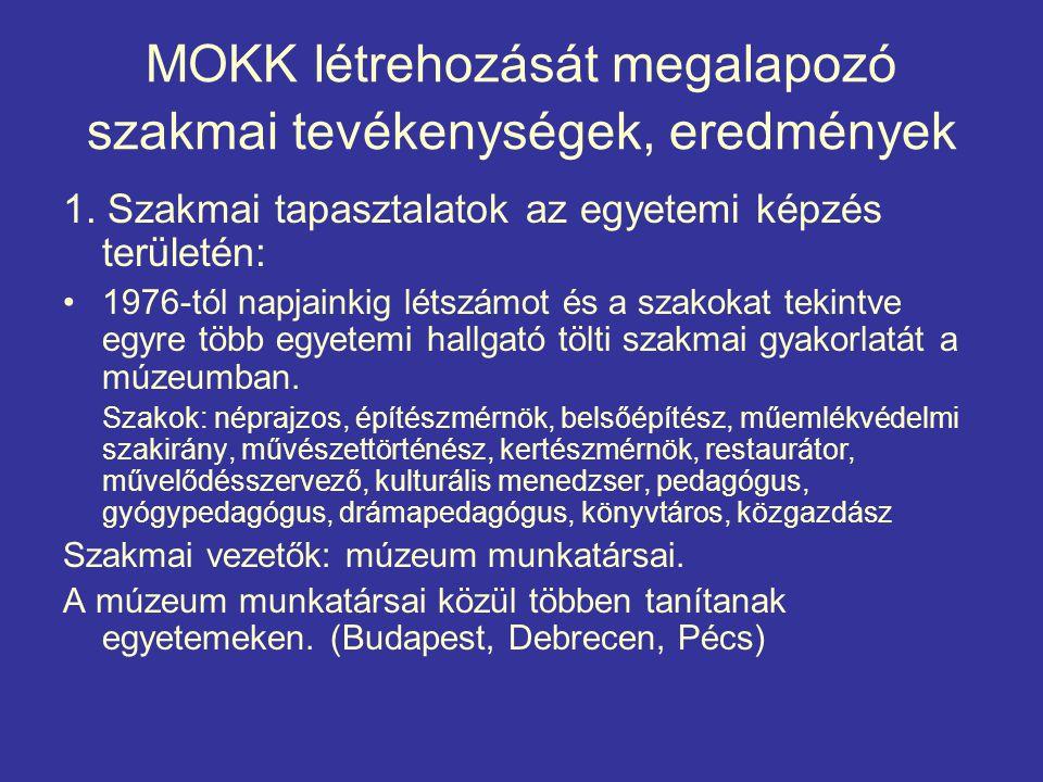 MOKK létrehozását megalapozó szakmai tevékenységek, eredmények 1.