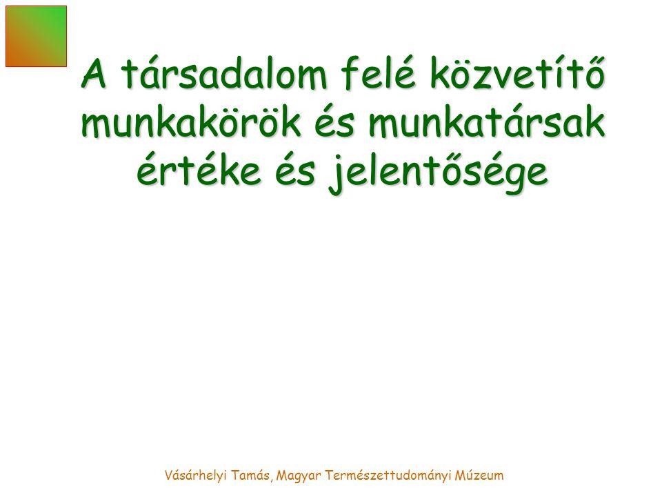 Vásárhelyi Tamás, Magyar Természettudományi Múzeum A társadalom felé közvetítő munkakörök és munkatársak értéke és jelentősége