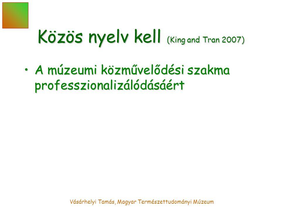 Vásárhelyi Tamás, Magyar Természettudományi Múzeum Közös nyelv kell (King and Tran 2007) A múzeumi közművelődési szakma professzionalizálódásáértA múzeumi közművelődési szakma professzionalizálódásáért