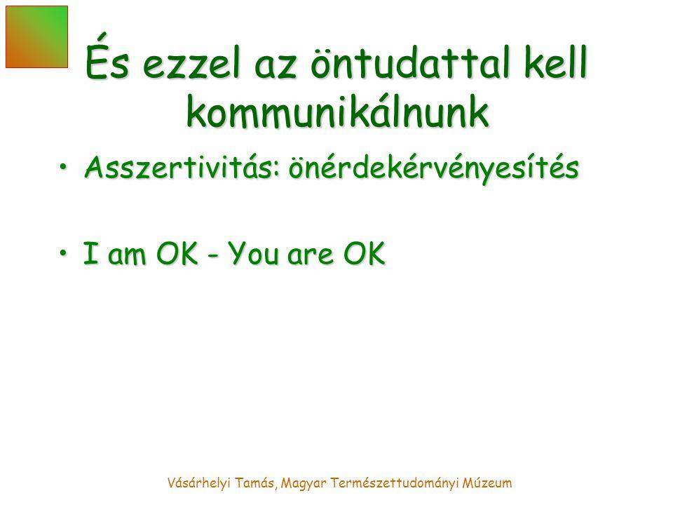 Vásárhelyi Tamás, Magyar Természettudományi Múzeum És ezzel az öntudattal kell kommunikálnunk Asszertivitás: önérdekérvényesítésAsszertivitás: önérdekérvényesítés I am OK - You are OKI am OK - You are OK