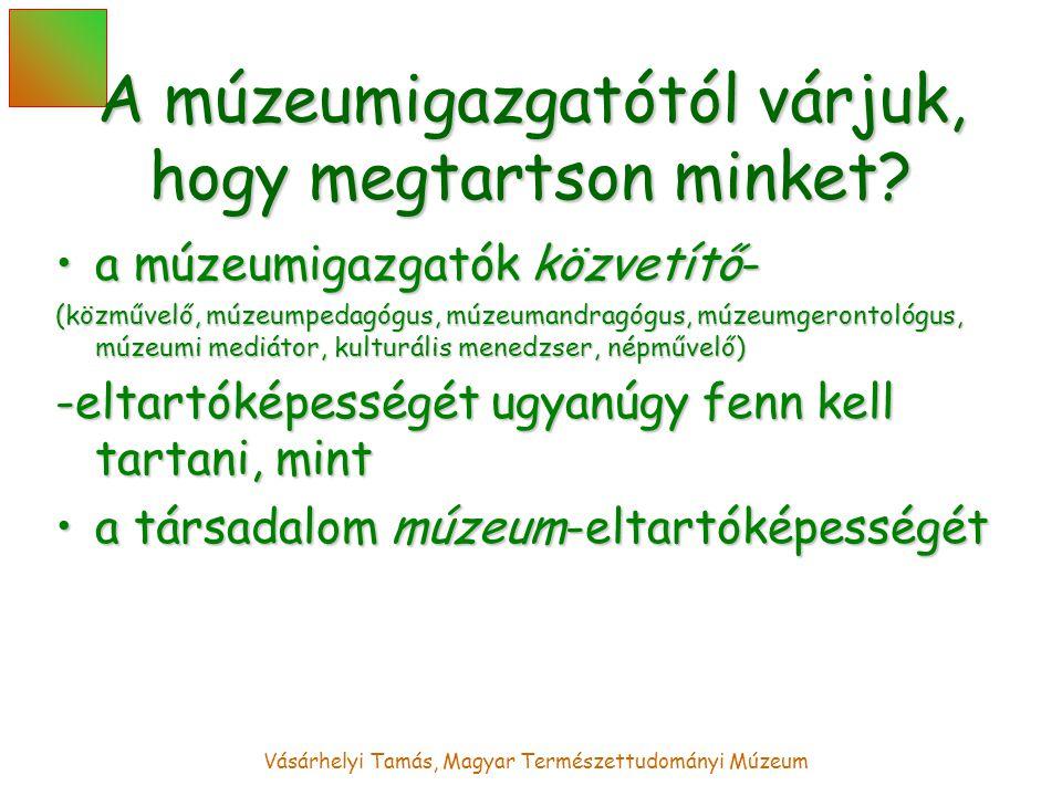 Vásárhelyi Tamás, Magyar Természettudományi Múzeum A múzeumigazgatótól várjuk, hogy megtartson minket.