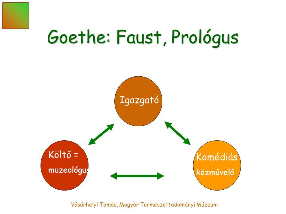 Vásárhelyi Tamás, Magyar Természettudományi Múzeum Goethe: Faust, Prológus Igazgató Költő = muzeológus Komédiás = közművelő