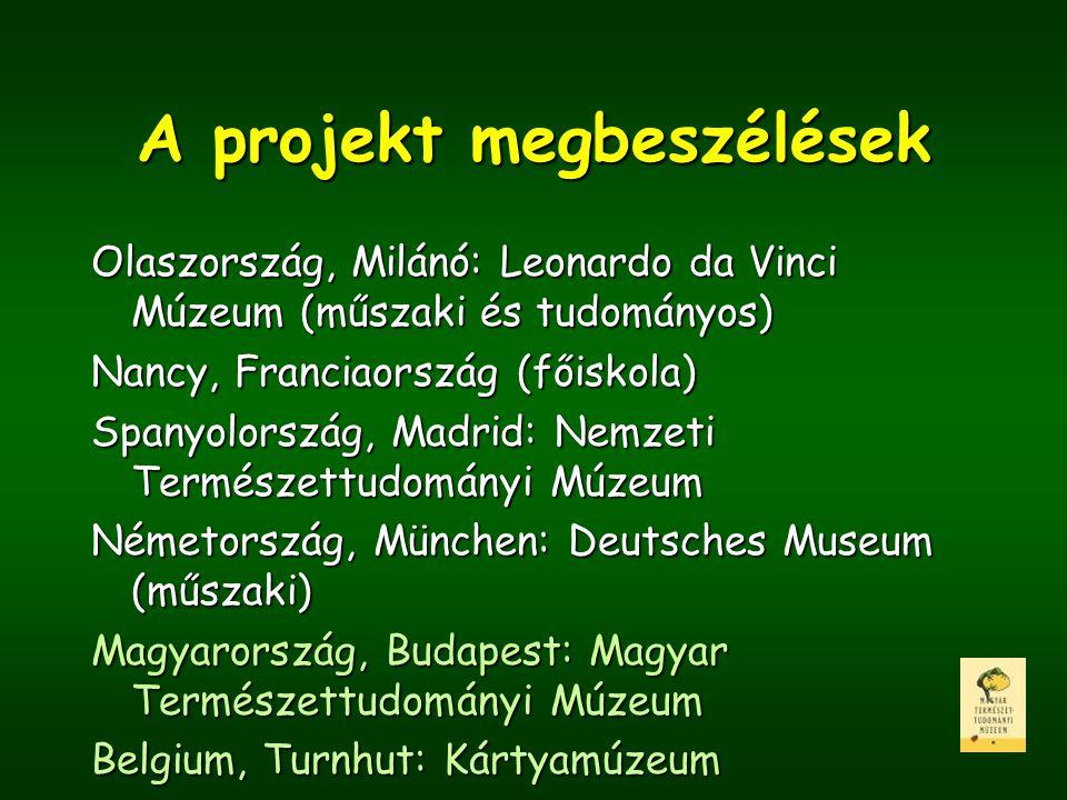 A projekt megbeszélések Olaszország, Milánó: Leonardo da Vinci Múzeum (műszaki és tudományos) Nancy, Franciaország (főiskola) Spanyolország, Madrid: N