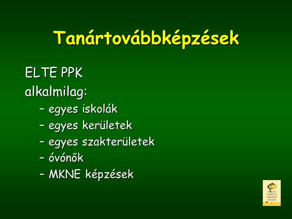 Tanártovábbképzések ELTE PPK alkalmilag: –egyes iskolák –egyes kerületek –egyes szakterületek –óvónők –MKNE képzések