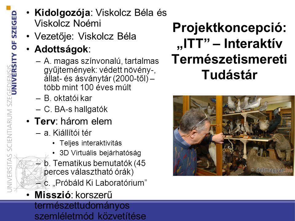 """Projektkoncepció: """"ITT – Interaktív Természetismereti Tudástár Kidolgozója: Viskolcz Béla és Viskolcz Noémi Vezetője: Viskolcz Béla Adottságok: –A."""