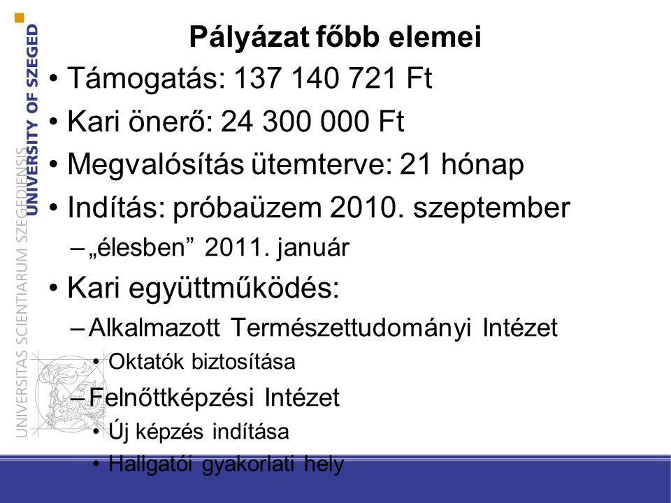 Pályázat főbb elemei Támogatás: 137 140 721 Ft Kari önerő: 24 300 000 Ft Megvalósítás ütemterve: 21 hónap Indítás: próbaüzem 2010.