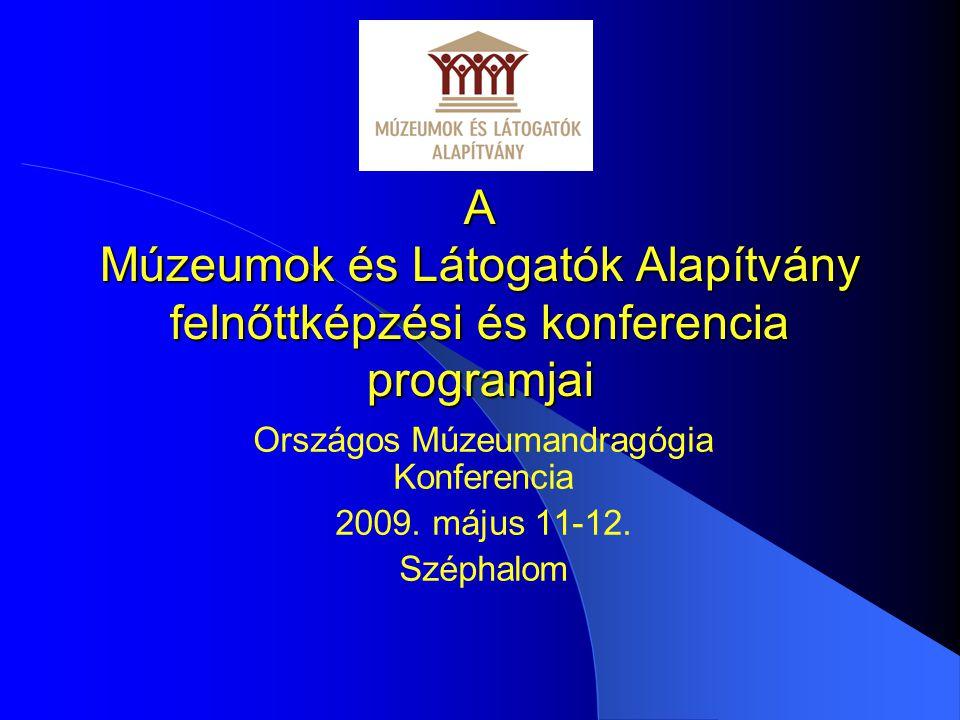 A Múzeumok és Látogatók Alapítvány felnőttképzési és konferencia programjai Országos Múzeumandragógia Konferencia 2009.
