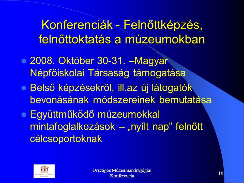 Országos Múzeumandragógiai Konferencia 10 Konferenciák - Felnőttképzés, felnőttoktatás a múzeumokban 2008.