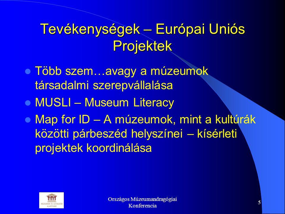 Országos Múzeumandragógiai Konferencia 6 Tevékenységek - Képzések Új- és időszerű problémák és kérdések felvetése, Bel- és külföldi jó példák bemutatása, Új módszerek és eszközök ismertetése, Kompetenciák átadása