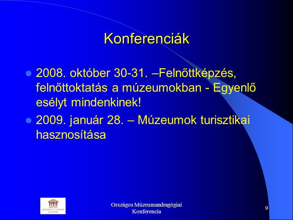 Országos Múzeumandragógiai Konferencia 9 Konferenciák 2008.