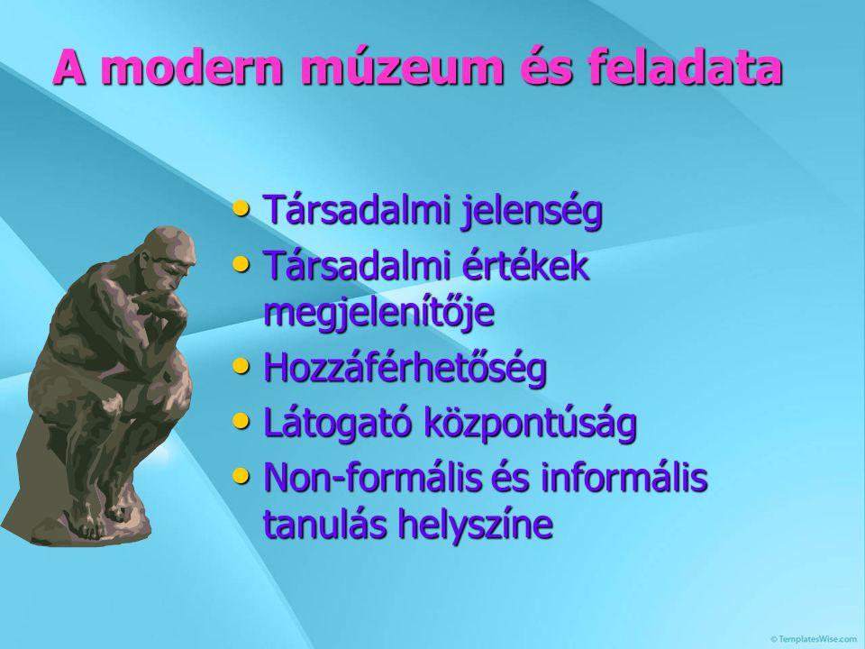 A modern múzeum és feladata Társadalmi jelenség Társadalmi jelenség Társadalmi értékek megjelenítője Társadalmi értékek megjelenítője Hozzáférhetőség Hozzáférhetőség Látogató központúság Látogató központúság Non-formális és informális tanulás helyszíne Non-formális és informális tanulás helyszíne