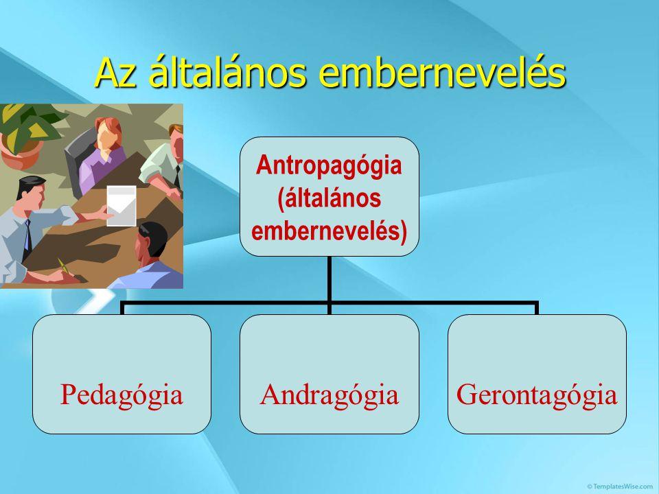 Az általános embernevelés Antropagógia (általános embernevelés) PedagógiaAndragógiaGerontagógia