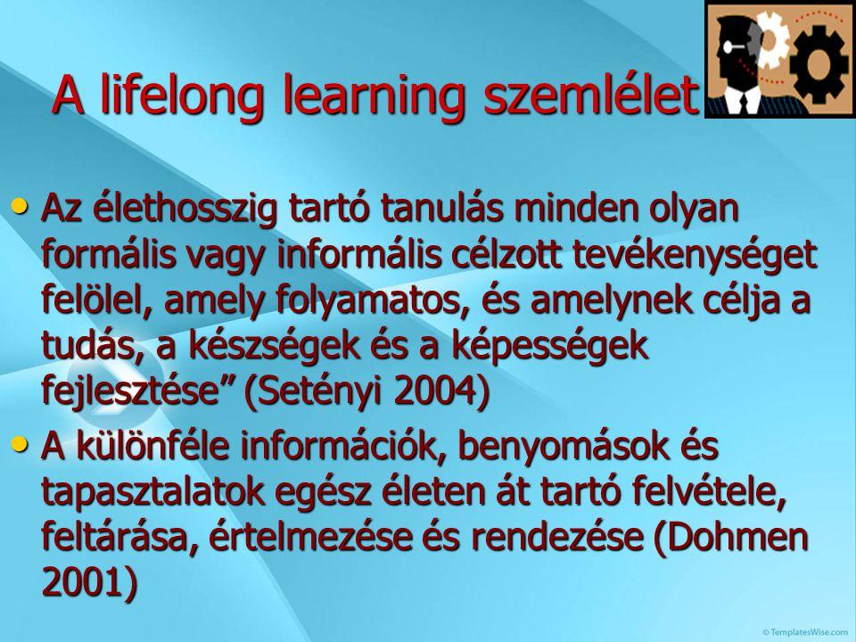 A lifelong learning szemlélet Az élethosszig tartó tanulás minden olyan formális vagy informális célzott tevékenységet felölel, amely folyamatos, és amelynek célja a tudás, a készségek és a képességek fejlesztése (Setényi 2004) A különféle információk, benyomások és tapasztalatok egész életen át tartó felvétele, feltárása, értelmezése és rendezése (Dohmen 2001)