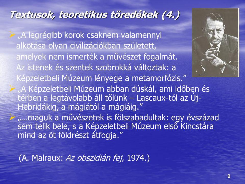 """9 Textusok, teoretikus töredékek (5.)   A múzeum """"nem ismer sem oltalmazó istenszobrot, sem szentet, sem Krisztust, sem tisztelendő tárgyat, csak dolgok ábrázolásait, melyek különböznek a dolgoktól maguktól, és létjogosultságukat éppen ebből a fajlagos különbségből merítik."""