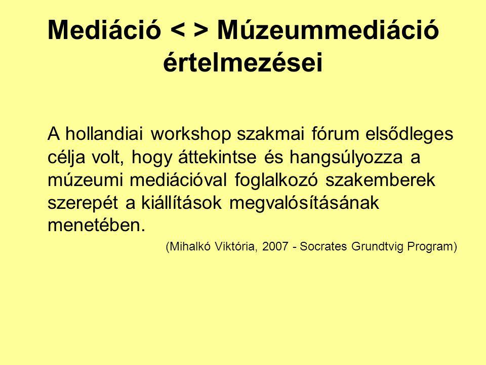Mediáció Múzeummediáció értelmezései A hollandiai workshop szakmai fórum elsődleges célja volt, hogy áttekintse és hangsúlyozza a múzeumi mediációval