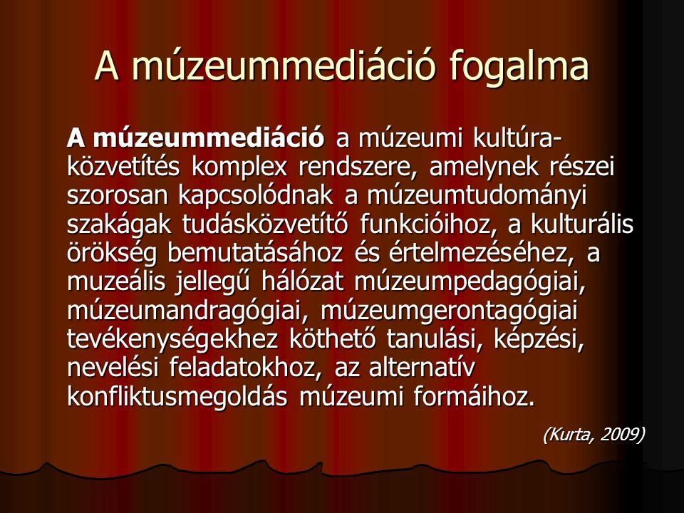 A múzeummediáció fogalma A múzeummediáció a múzeumi kultúra- közvetítés komplex rendszere, amelynek részei szorosan kapcsolódnak a múzeumtudományi sza