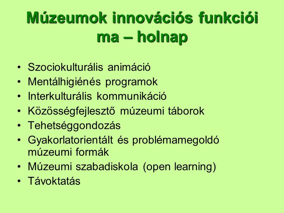 Múzeumok innovációs funkciói ma – holnap Szociokulturális animáció Mentálhigiénés programok Interkulturális kommunikáció Közösségfejlesztő múzeumi táb